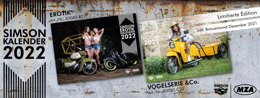 Die Kalender SIMSON-Erotik und SIMSON Vogelserie & Co. für 2022 sind ab sofort verfügbar.